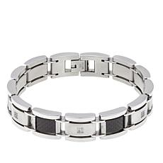 Men's 0.1ctw Diamond-Accented Stainless Steel Bracelet