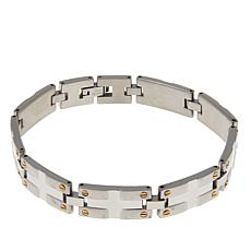 "Men's 2-tone Stainless Steel Screw Link 8-1/2"" Bracelet"