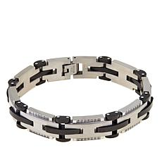 Men's .49ctw Diamond Stainless Steel Link Bracelet