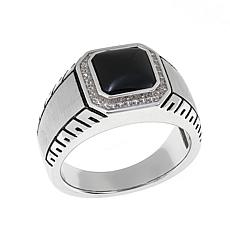 Men's Black Onyx and Clear CZ Sterling Silver Squared Ring
