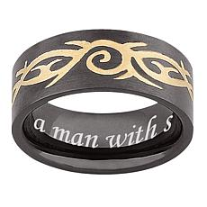 Men's Black Stainless Steel Engraved Tribal Band Ring