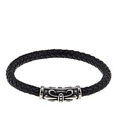 Men's Braided Black Leather Steel Magnetic Bracelet