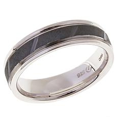 Men's Diagonal Groove 6mm Sterling Silver Band Ring