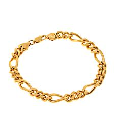 "Men's Goldtone Figaro Chain 9-1/4"" Bracelet"
