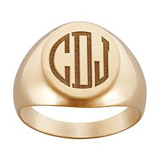 Men's Signet-Style Engraved 3-Initial Monogrammed Ring