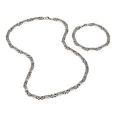 Men's Stainless Steel Byzantine Chain 2-piece Gift Set