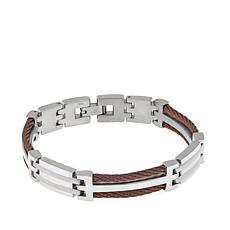 Men's Stainless Steel Chocolate Cable Link Bracelet
