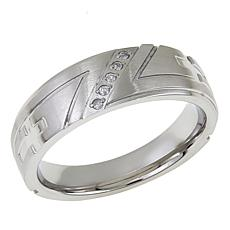 Men's Stainless Steel Cross-Design Diamond-Accented 4mm Wedding Band