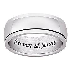 Men's Stainless Steel Polished Engraved Spinner Band