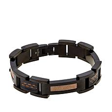 Men's Stainless Steel Rosetone Carbon Link Bracelet