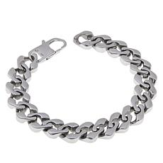 "Men's Stainless Steel Square Curb-Link 8-1/4"" Bracelet"