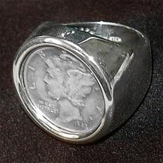 Mercury Dime Sterling Silver Round Polished Ring