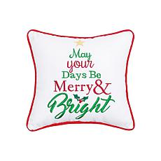 Merry & Bright Embroidered Pillow