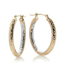 Michael Anthony® 2-Tone 10K Gold Diamond-Cut Oval Hoops