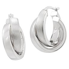 Michael Anthony Jewelry® 14K White Gold Crossover Hoop Earrings