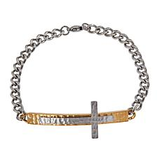 "Michael Anthony Jewelry® 2-Tone Curved Cross 7-1/2"" Bracelet"