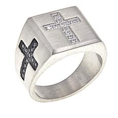 Michael Anthony Jewelry® CZ Cross Stainless Steel Signet Ring