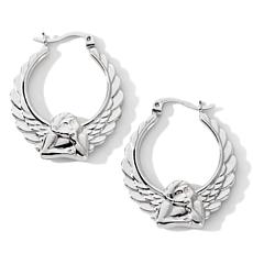 Michael Anthony Jewelry® Guardian Angel Sterling Hoops