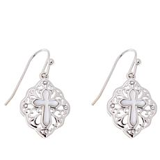 Michael Anthony Jewelry® Mother-of-Pearl Cross Drop Earrings