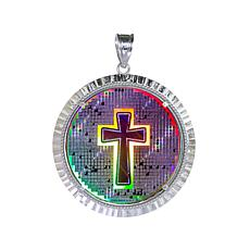 Michael Anthony Jewelry® Round Cross Hologram Pendant