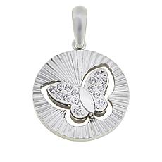 Michael Anthony Jewelry® Stainless Steel CZ Butterfly Disc Pendant