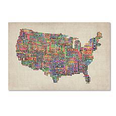"Michael Tompsett ""US Cities Text Map VI"" Art- 22"" x 32"""