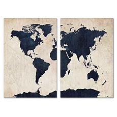 Michael Tompsett 'World Map - Navy' Art Collection