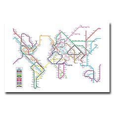 Michael Tompsett 'World Map Subway' Giclee Print
