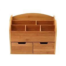 Mind Reader 6-Compartment Desk Organizer with 2 Drawers - Brown