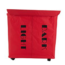 Mind Reader Double Rolling Laundry Sorter Hamper with Lid - Red