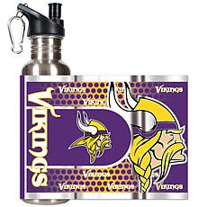 Minnesota Vikings Stainless Steel Water Bottle with Metallic Graphics