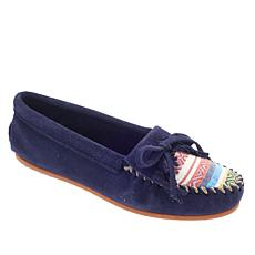 Minnetonka Kilty Suede and Fabric Moccasin