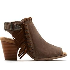 Minnetonka Mae Leather Fringe Open-Toe Shootie