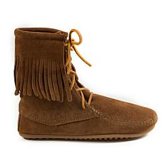 Minnetonka Suede Lace-Up Double Fringe Tramper Boot