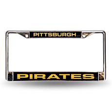 MLB Black Insert Laser-Cut Chrome License Plate Frame - Pirates