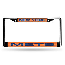 MLB Black Laser-Cut Chrome License Plate Frame - Mets
