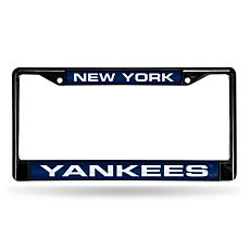 MLB Black Laser-Cut Chrome License Plate Frame - Yankees