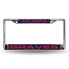 MLB Blue Laser-Cut Chrome License Plate Frame - Braves