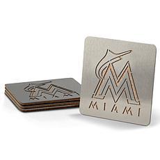 MLB Boasters 4-piece Coaster Set - Miami Marlins