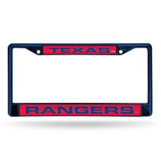 MLB Colored Laser-Cut Chrome License Plate Frame -  Rangers