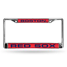 MLB Laser-Cut Chrome License Plate Frame - Red Sox