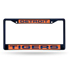 MLB Navy Laser-Cut Chrome License Plate Frame -  Tigers