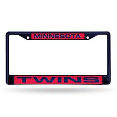 MLB Navy Laser-Cut Chrome License Plate Frame -  Twins