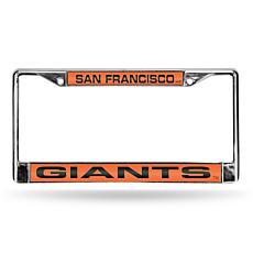 MLB Orange Laser-Cut Chrome License Plate Frame -Giants