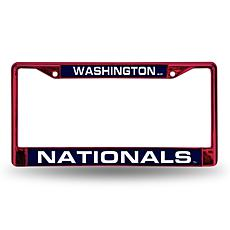 MLB Red Laser-Cut Chrome License Plate Frame -  Nationals