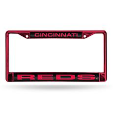 MLB Red Laser-Cut Chrome License Plate Frame -  Reds