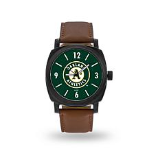 "MLB Sparo ""Knight"" Faux Leather Watch - Athletics"