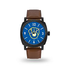 "MLB Sparo ""Knight"" Faux Leather Watch - Brewers"
