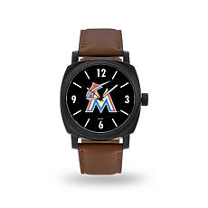 "MLB Sparo ""Knight"" Faux Leather Watch - Marlins"