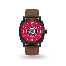 "MLB Sparo ""Knight"" Faux Leather Watch - Nationals"